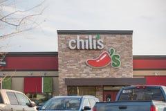 辣椒` s餐馆外部 辣椒` s格栅&酒吧是与地点的一家偶然用餐的联锁饭店在美国,加拿大, 库存图片