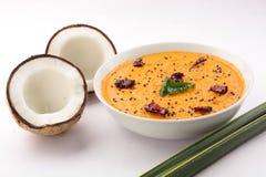 辣椰子酸辣调味品 用椰子 免版税库存图片