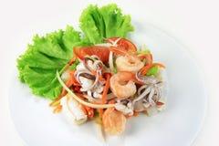 辣沙拉的海鲜 图库摄影