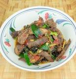 辣油煎的猪肉用辣椒 免版税库存照片