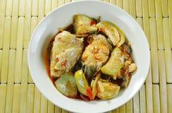 辣油煎的鲶鱼用咖喱和茄子在碗 库存图片