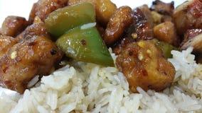 辣波旁酒鸡肉和大米 免版税库存图片