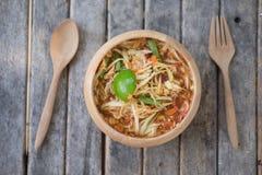 辣泰国番木瓜的沙拉热和也知道作为索马里兰Tam 图库摄影