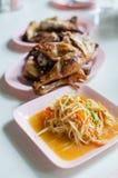 辣泰国番木瓜的沙拉热和,索马里兰Tam 免版税图库摄影
