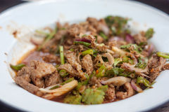 辣泰国食物Larb,猪肉 免版税图库摄影