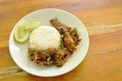 辣混乱油煎了酥脆鲶鱼咖喱用在板材的米 库存图片