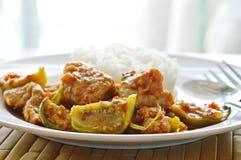 辣混乱油煎了鱼丸茄子和辣椒用简单的米 免版税图库摄影