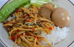 辣混乱油煎的笋用淡菜和煮沸的红皮蛋在米 库存图片