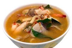 辣混杂的海鲜汤 免版税库存图片