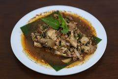 辣烤猪肉沙拉,Nam图克Moo,泰国食物 图库摄影