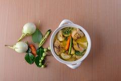 辣热的鸡绿色咖喱用椰奶汤 免版税库存照片