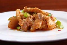 辣猪肉用在泰国食物的咖喱 免版税库存图片