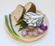 辣盐味的西鲱用面包和葱在一个木圈子 图库摄影