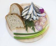 辣盐味的西鲱用面包和葱在一个木圈子 库存照片