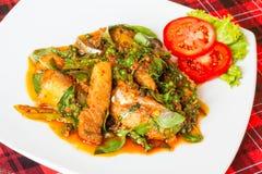 辣红尾鱼鲶鱼咖喱- Phadcha plakang 库存图片