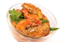 辣红色印地安大虾咖喱 免版税库存照片