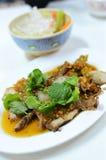 辣绿色草本猪肉的沙拉 免版税库存照片