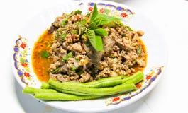 辣肉末沙拉用猪肉 免版税库存照片