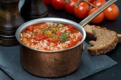 辣蕃茄汤用米、菜和草本在平底深锅 免版税库存图片