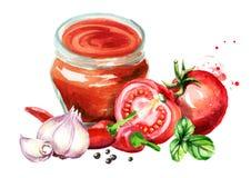 辣西红柿酱用蕃茄、大蒜、辣椒、黑胡椒和蓬蒿 水彩手拉的例证,隔绝在白色bac 免版税图库摄影
