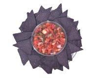 辣调味汁pico de加洛和蓝色玉米粉薄烙饼切削 免版税库存照片