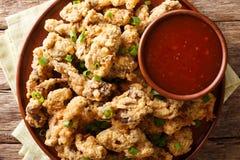 辣酥脆炸鸡胗服务用葱和 免版税库存图片