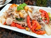 辣面条沙拉,辣细面条沙拉,泰国食物 库存照片