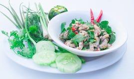辣鱼剁碎南部的老挝人食物菜单的混合 免版税图库摄影