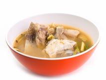 辣鱼汤,热的汤 库存图片