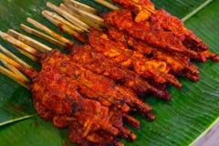 辣鸡烤了鸡,辣的一点的泰国食物 库存照片