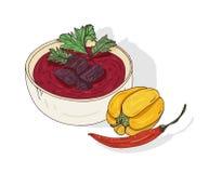 辣kharcho汤用蕃茄和肉 在白色背景隔绝的英王乔治一世至三世时期烹调鲜美膳食 可口 向量例证