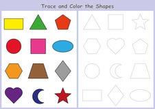辨别目标和上色几何形状,孩子的活页练习题 免版税库存照片