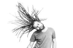 结辨的头发年轻人 免版税库存图片