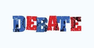 辩论概念被盖印的词艺术例证 库存照片