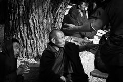 辩论的色拉寺修士点拉萨西藏 免版税图库摄影