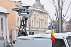 边境在一个全国事件的警车 图库摄影
