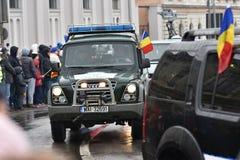 边境在一个全国事件的警车 免版税库存图片