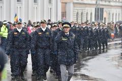 边境游行在一个全国事件的警察 免版税库存照片