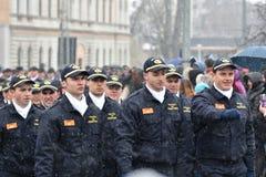 边境游行在一个全国事件的警察 库存图片