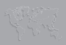边界世界地图例证 库存例证