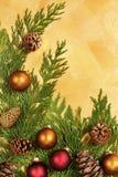 边界圣诞节叶子装饰品 免版税库存图片
