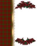 边界圣诞节格子花呢披肩红色 免版税库存图片