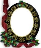 边界圣诞节框架霍莉丝带 免版税库存照片
