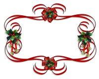 边界圣诞节红色丝带 免版税图库摄影