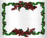 边界圣诞节霍莉丝带 免版税库存图片