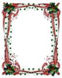 边界圣诞节霍莉红色丝带 库存图片