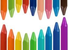 边界多色的蜡笔 免版税库存照片