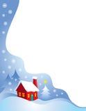 边界多雪的圣诞夜 免版税库存图片