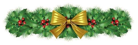 边界弓圣诞节装饰金子 免版税库存照片