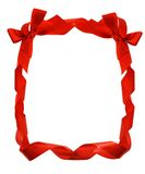 边界弓红色丝带 免版税库存照片
